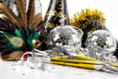 Mask and party hats for New Years Eve