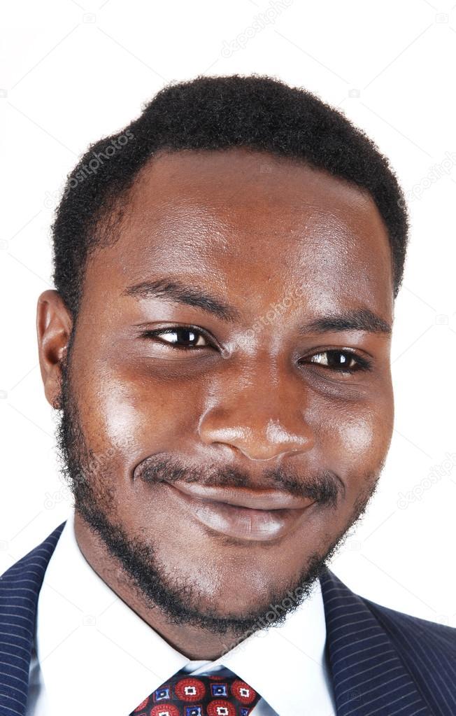 a42bac2ef2e8c3 Un homme d image d un sourire noir protract en costume et cravate, isolé  pour Pentecôte — Image de sucher