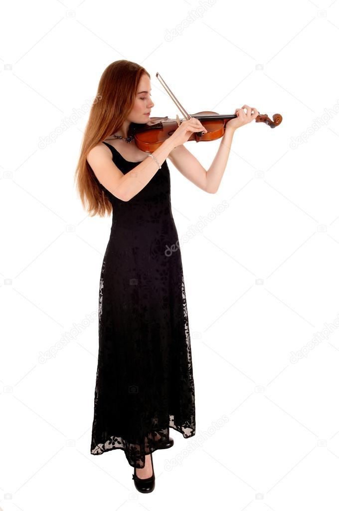 Donna in piedi con violino foto stock sucher 50875269 for Piani di studio 300 piedi quadrati