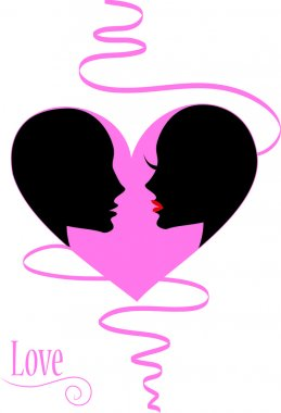 Two people in love in the heart
