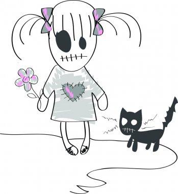Sad dead girl with kitten