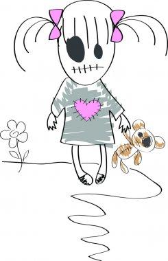 Sad dead girl with teddy bear