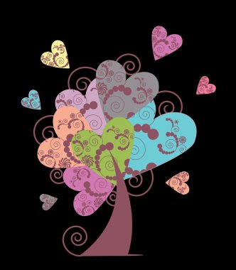 Cute cartoon monsters and the tree of hearts