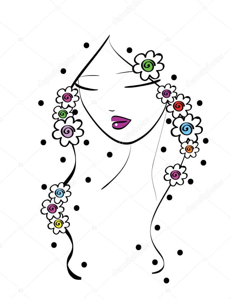 Piękny Wiersz Sztuka Dziewczyna Z Kwiatami Grafika