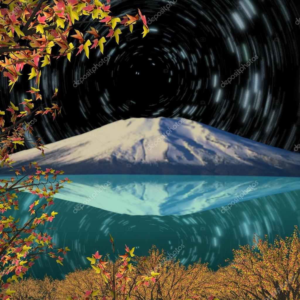 Night view of Mount Fuji in Fall