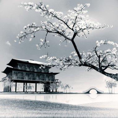 Painting style of china landscape