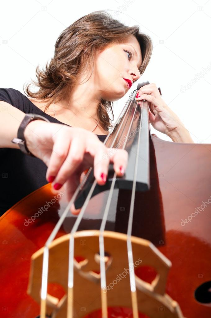 Woman In Black Dress Play Double Bass Low Point View Stock Photo