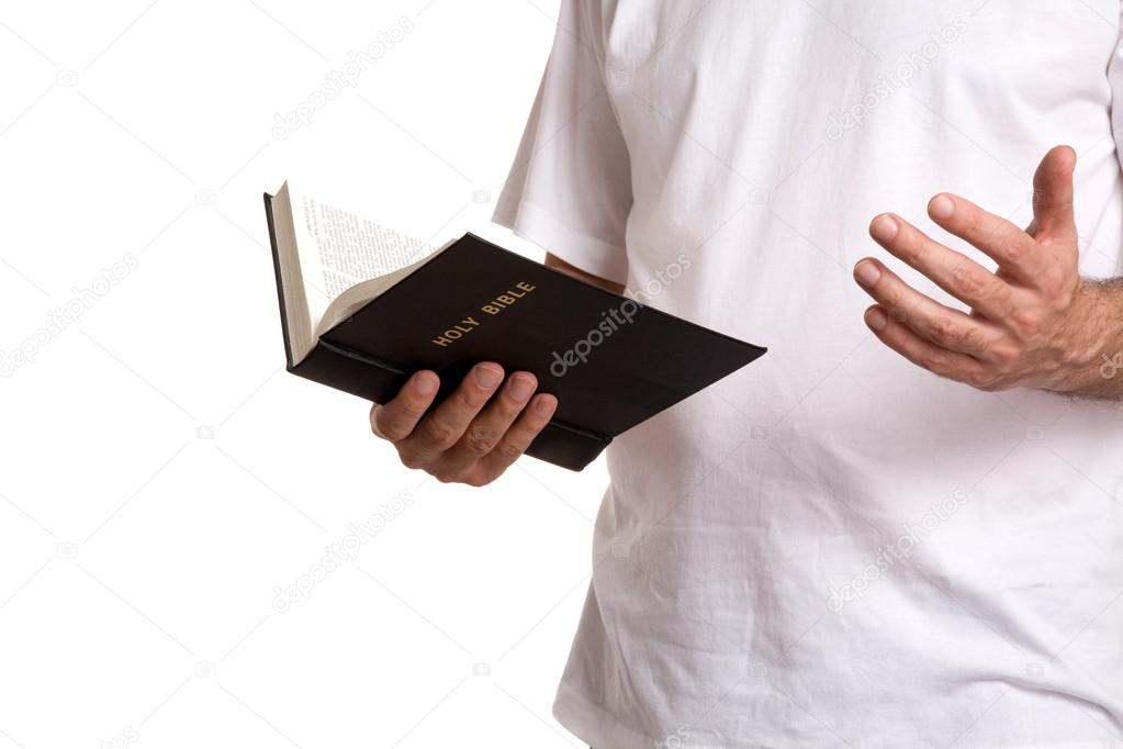 Man with religion book isolated on white background stock vector