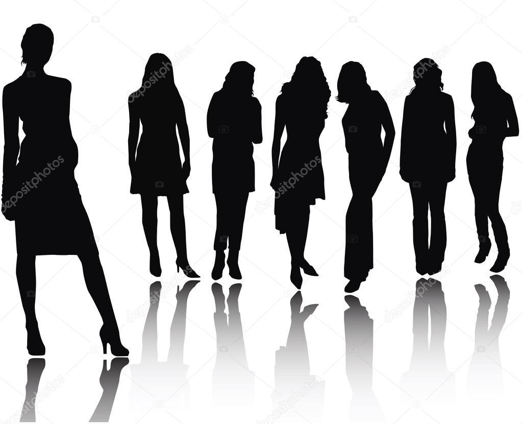 Woman silhouettes .