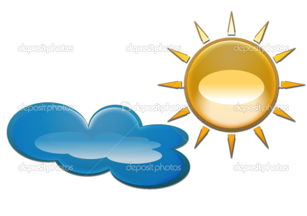isolated sun and cloud