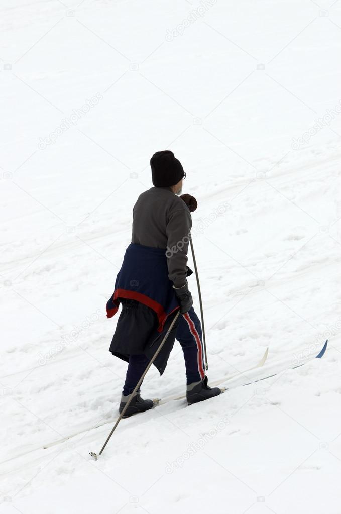 Elder man skiing