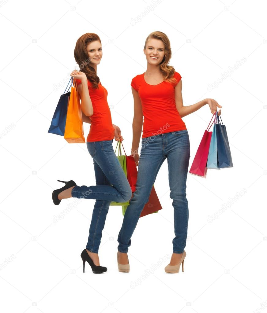 Two teenage girls with shopping bags — Stock Photo ...
