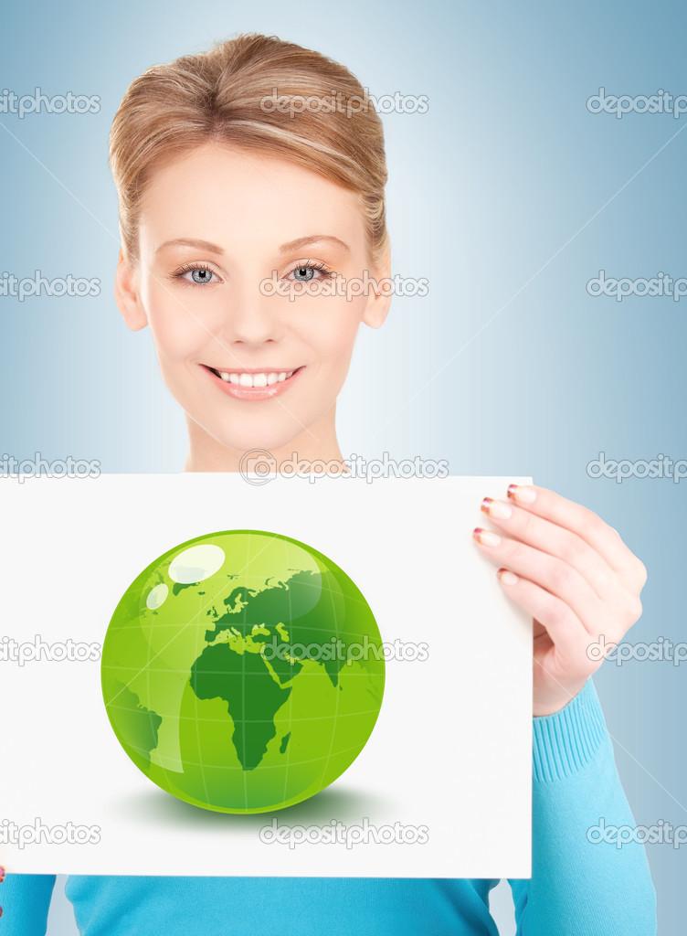 Frau mit Abbildung grüne Öko-Globe — Stockfoto © Syda_Productions ...