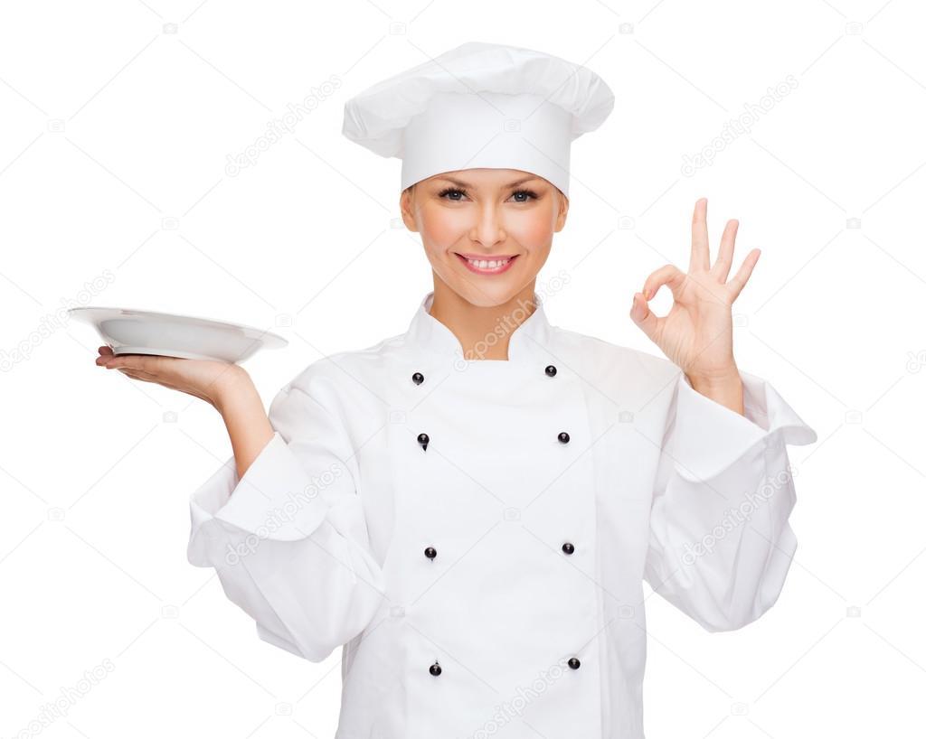 Mujer Chef Con Plato Vacío Señales Bien
