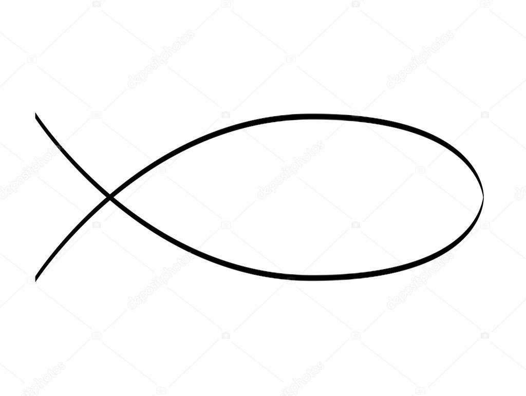 Line Art Of Fish : Schematic drawing of jesus fish u2014 stock photo © syda productions