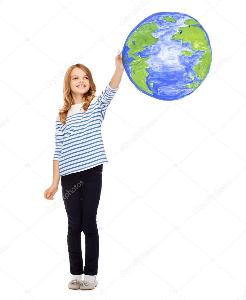 Fille De Dessin Planète Terre Dans L Air Photographie