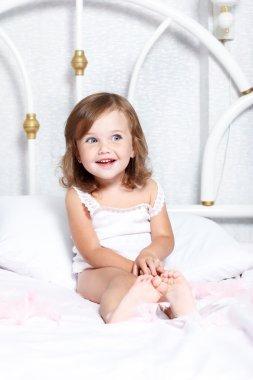 Barefoot toddler girl