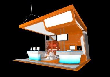 orange exhibition stand