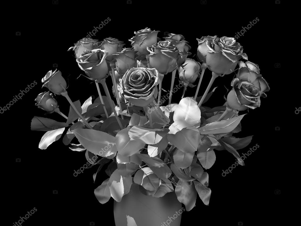 Silver Roses Bouquet On A Black Background Photo By Whitehoune