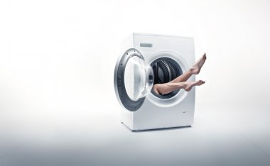Conceptual photo of a woman absorbed by household duties