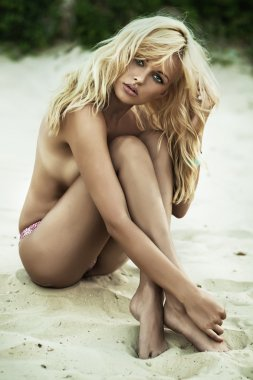 Sensual woman posing on the beach