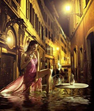 Pretty woman taking urban bath