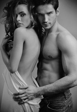 Art photo of attractive sensual couple