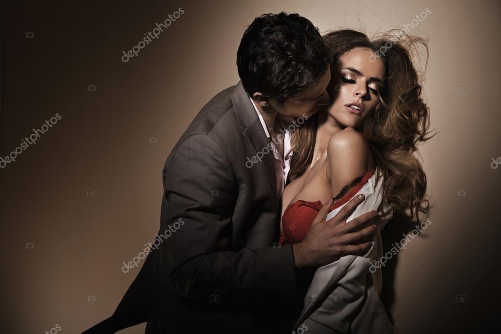 Sensual kisses on the delicate neck