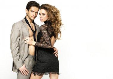 Slim woman wearing nice dress and her stylish boyfriend
