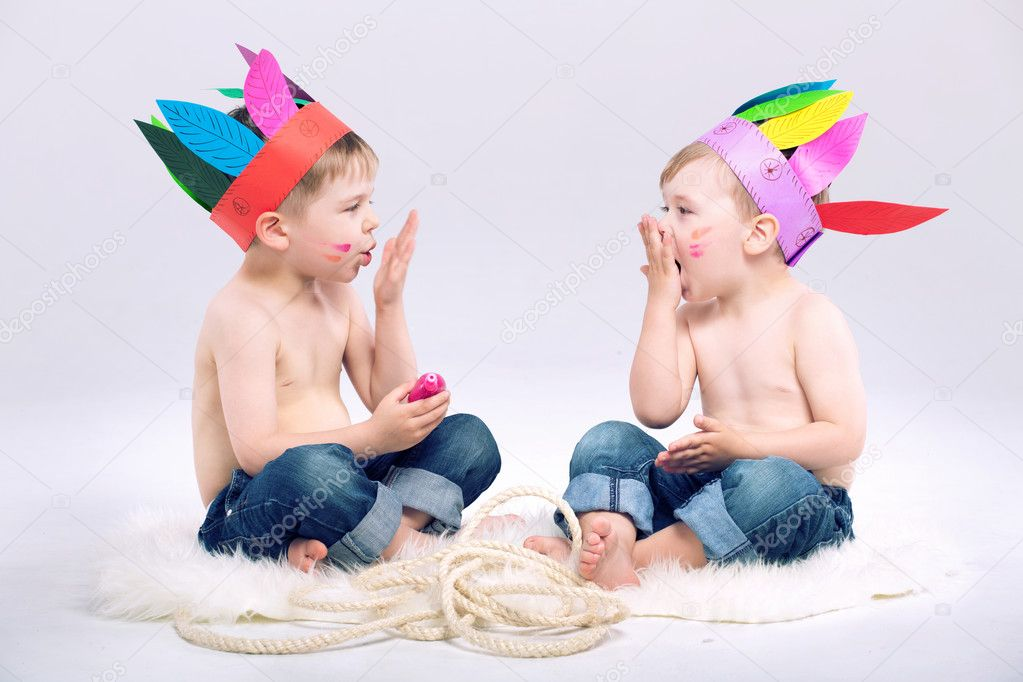 Young Indian boys with fancy hats