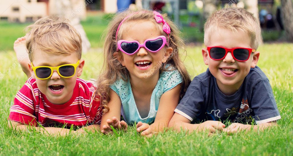 Funny picture of three playing kids