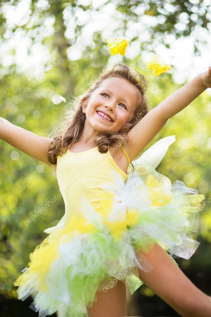 Cute small girl dancing ballet