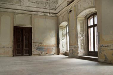 Ruined interior in the building