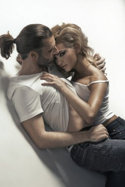 Passionate man and sensual woman