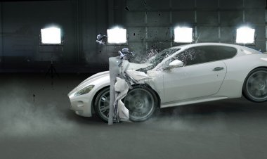 Picture presenting crashed expensive car