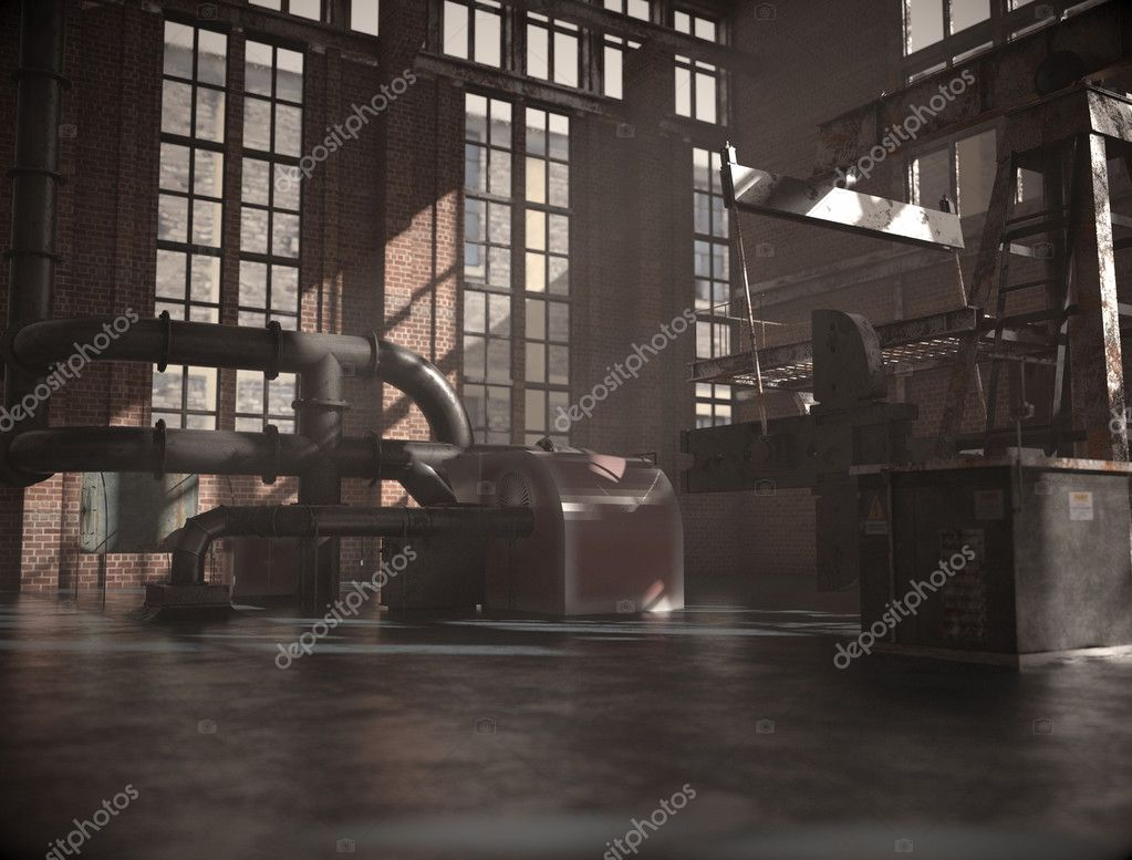 Old and abandoned urban factory