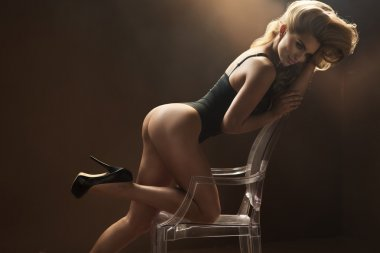Blonde woman with perfect legs