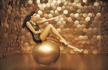 Sensual woman playing on the big ball