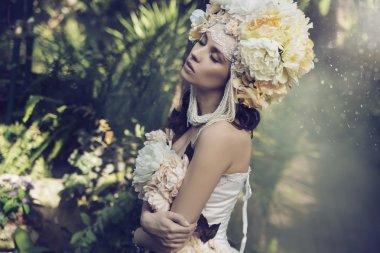 Fabulous brunette woman in the jungle