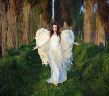 Marvelous woman-angel in the forest