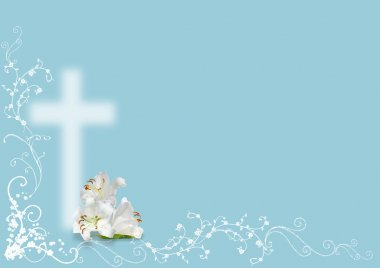Easter lily and cross on blue background stock vector