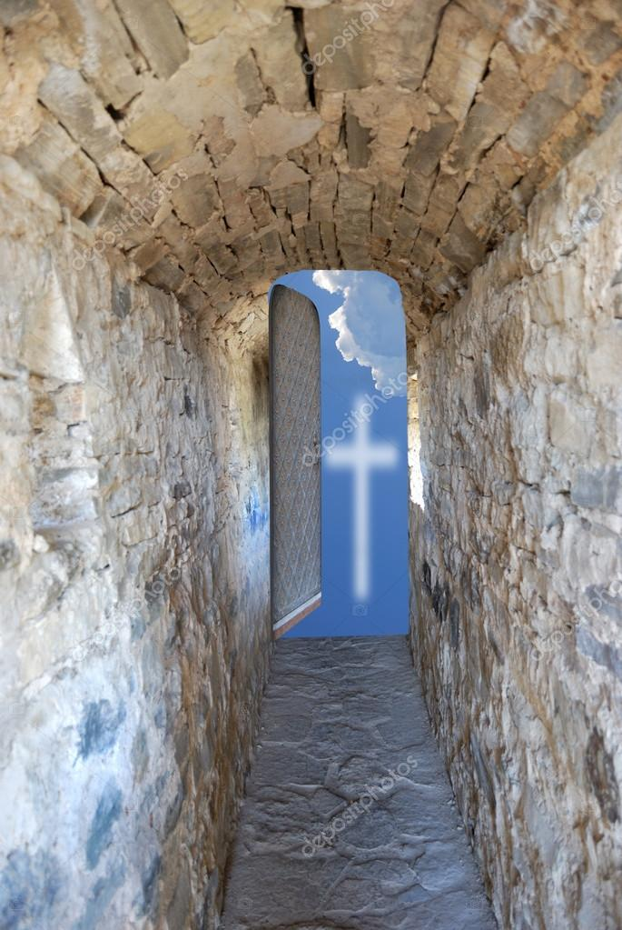 corridor and sky with cross