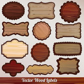 Fotografie Set Wooden labels retro vintage classic