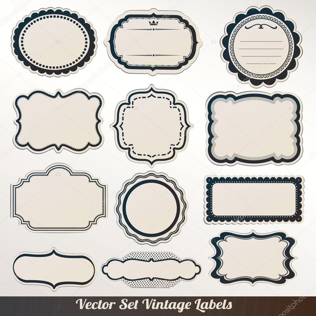vector frame labels set ornamental vintage decoration stock vector 13341272