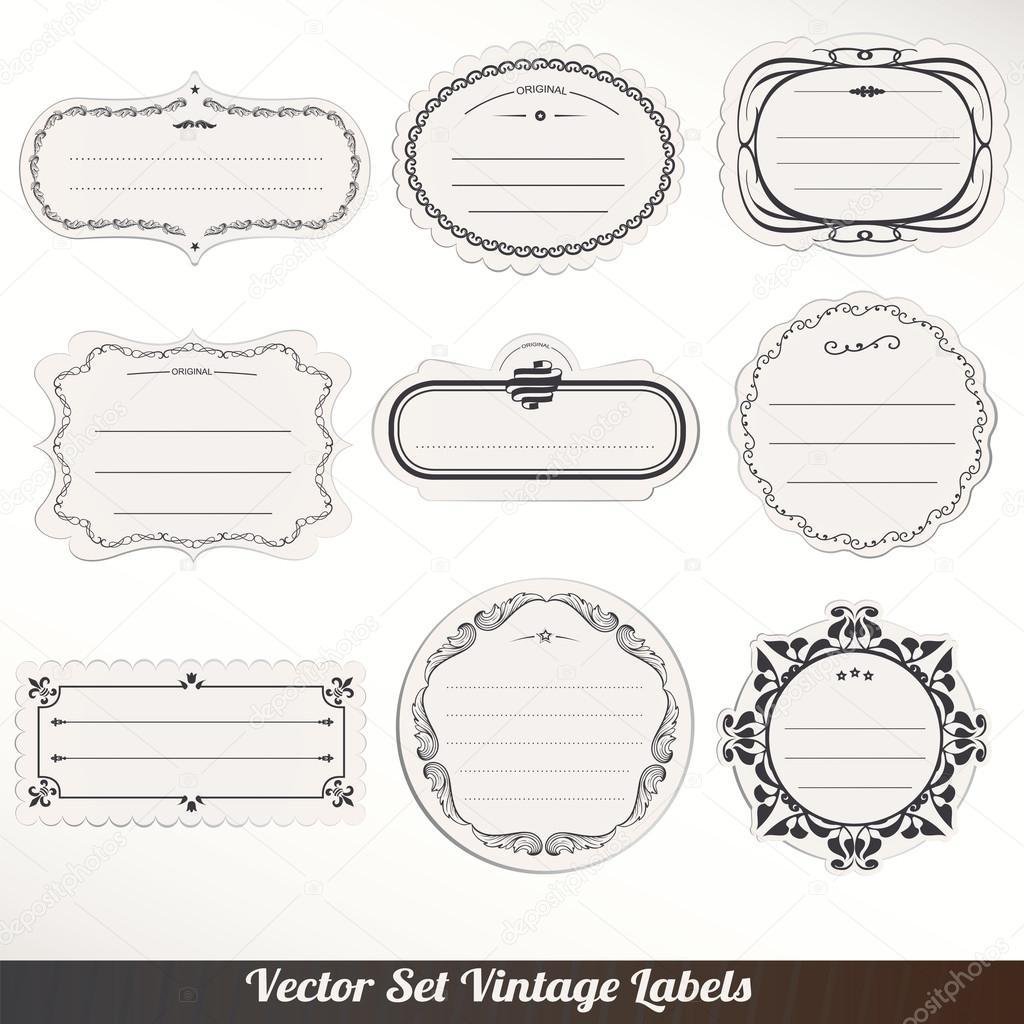 Vector marco etiquetas set decoración ornamental vintage — Vector de ...