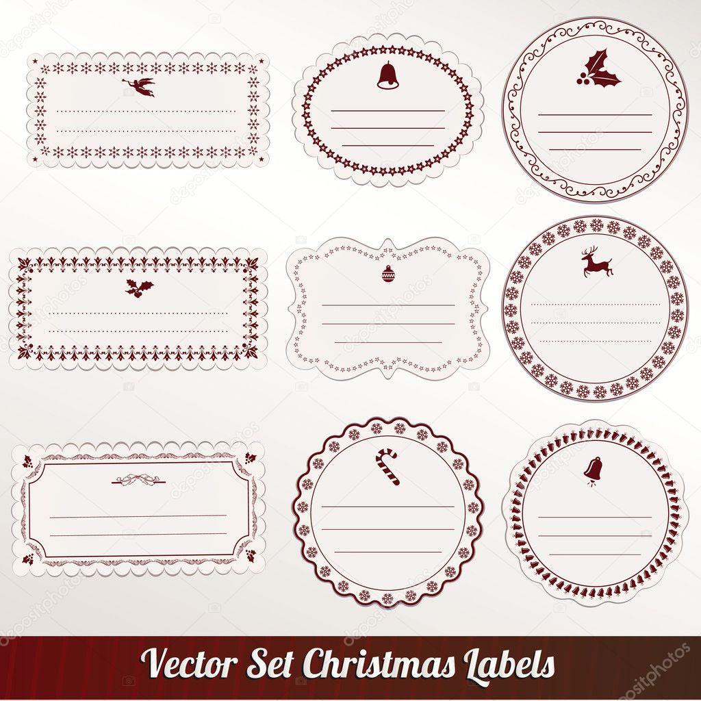 satz von vektor weihnachten etiketten stockvektor. Black Bedroom Furniture Sets. Home Design Ideas
