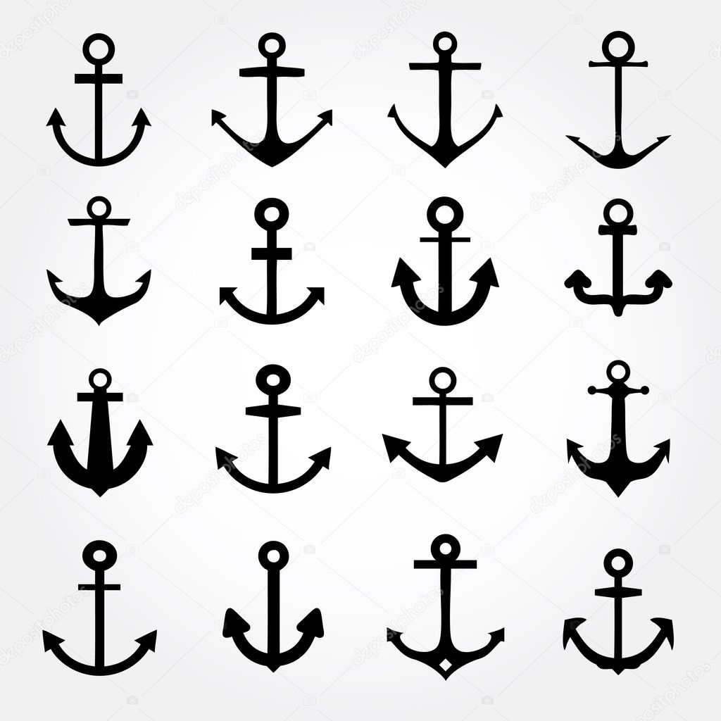 Set of anchor symbols or logo template vector
