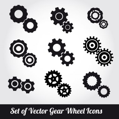 Gear wheels icons vector set