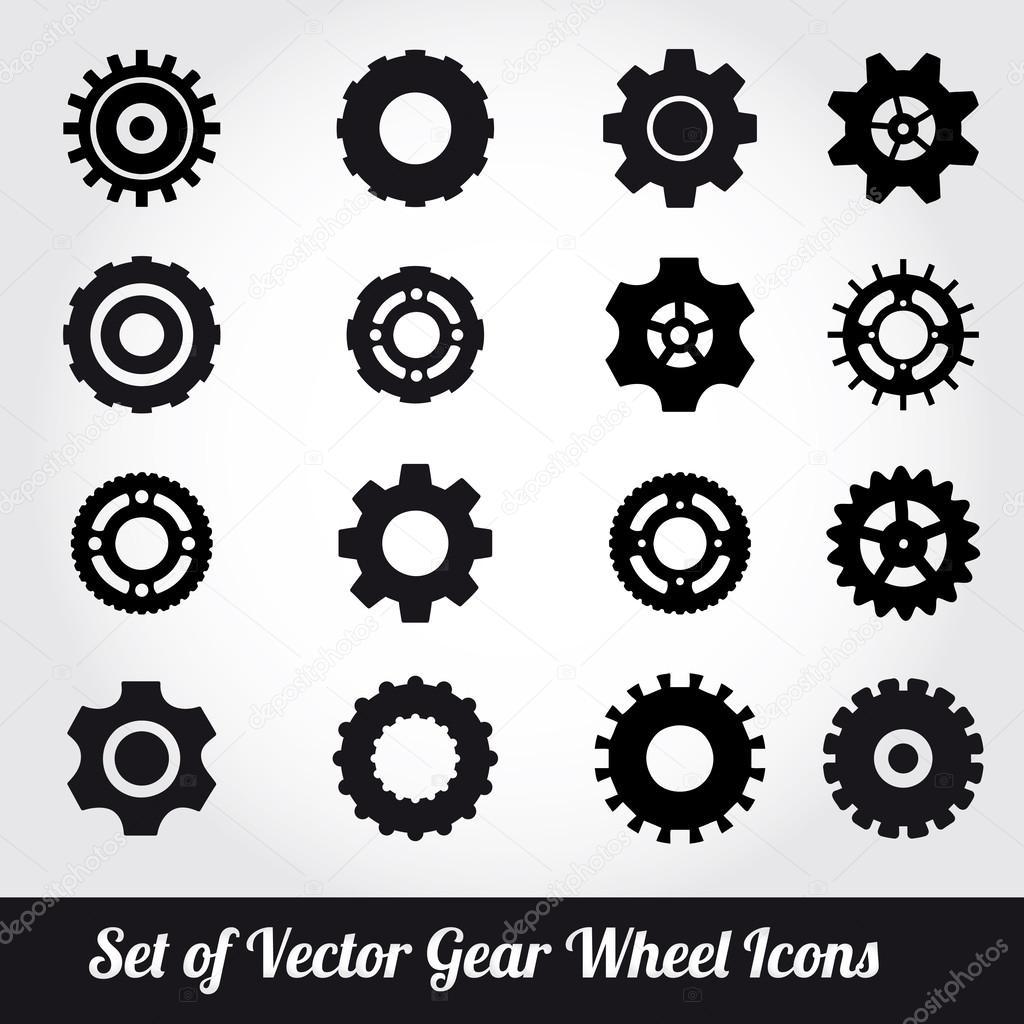 Gear wheels icons vector set