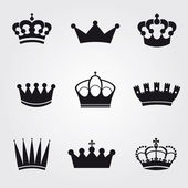 Fotografie Monochrome vintage antique crowns - icons and silhouettes